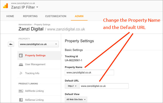 changing a domain in google analytics
