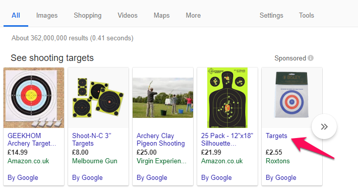 google shopping title
