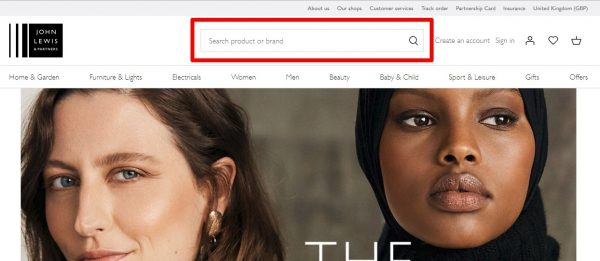 John Lewis site search image