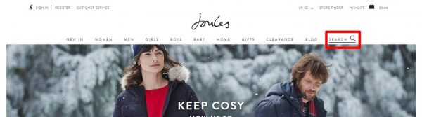 Joules site search image