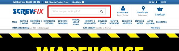 Screwfix site search image